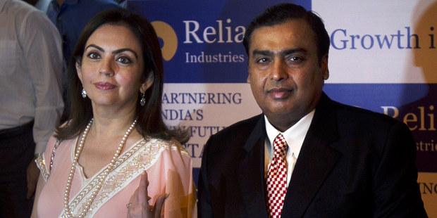 Mukesh Ambani, najbohatší Ind so ženou Nitou.