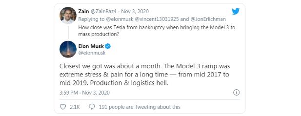 Elon Musk: Teslu delil len mesiac od bankrotu
