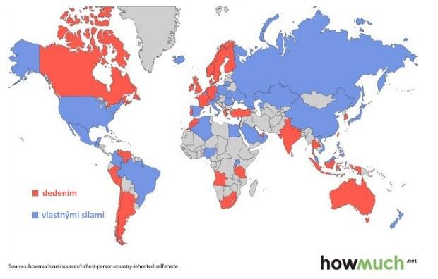Mapa miliardárov: Kde je to šťastný dedič a kde poctivý pracant