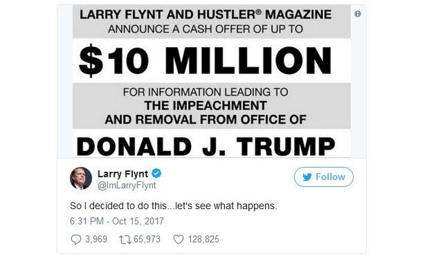 Odmena 10 miliónov za pomoc pri zosadení prezidenta Trumpa